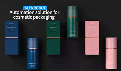 ALFA ROBOT Automation solution for  cosmetic packaging